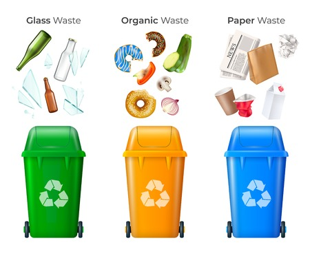 Illustration pour Trash and recycling set with glass and organic waste realistic isolated vector illustration - image libre de droit
