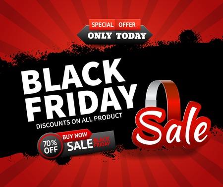 Ilustración de Flat design black friday sale and discounts on all products background vector illustration - Imagen libre de derechos