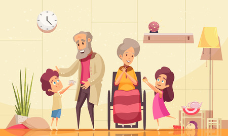 Illustration for Helping elderly people home flat cartoon composition with grandchildren serving coffee cakes to old grandparents vector illustration - Royalty Free Image