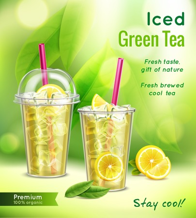 Illustration pour Iced green tea realistic advertising composition with 2 full glasses mint leaves lemon blurred background vector illustration - image libre de droit