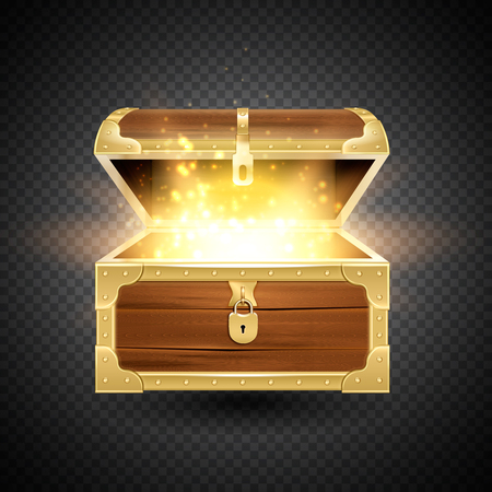 Illustration pour Shine in old wooden chest realistic composition on transparent background with vintage coffer and sparkling particles vector illustration - image libre de droit