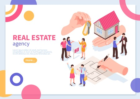 Vektor für Real estate agency isometric concept of web banner with colorful geometric elements on white background vector illustration - Lizenzfreies Bild