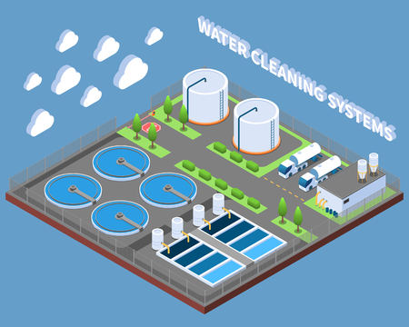 Illustration pour Water cleaning systems isometric composition with industrial treatment facilities and delivery trucks on blue background vector illustration - image libre de droit