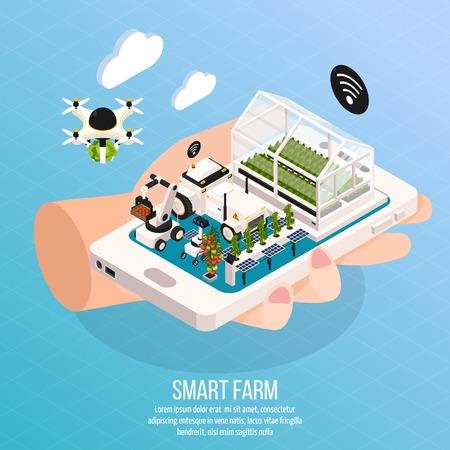 Illustration pour Smart farm on hand composition set with technology symbols isometric  vector illustration - image libre de droit