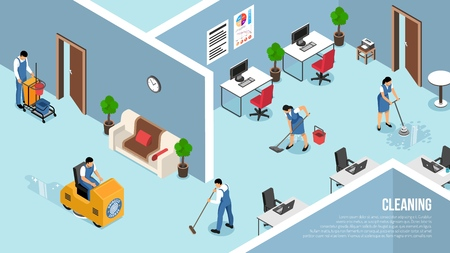 Illustration pour Industrial and commercial buildings interiors cleaning service isometric advertising poster with floors pressure   washing team vector illustration - image libre de droit