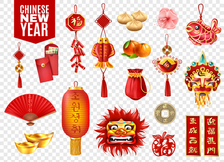 Ilustración de Chinese new year transparent set of red envelopes lanterns coins traditional festive decoration dumplings and oranges isolated vector illustration - Imagen libre de derechos