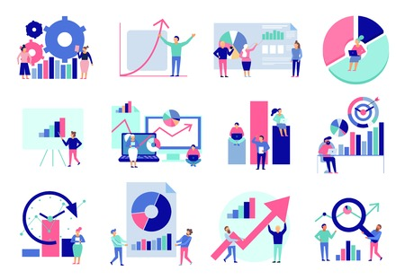 Illustration pour Data analytics diagrams graphic results presentation analysis tools techniques decision making flat icons collection isolated vector illustration - image libre de droit