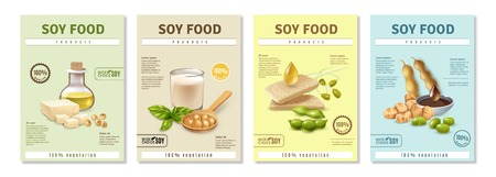Ilustración de Set of vertical advertising posters with soy food products on colorful background isolated vector illustration - Imagen libre de derechos