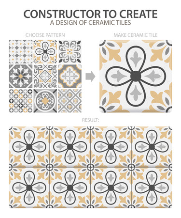 Illustration for Realistic ceramic floor tiles vintage pattern with one type or set composed of different tiles vector illustration - Royalty Free Image