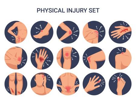 Ilustración de Human body physical injury round flat set with shoulder knee finger burn cut wounds isolated vector illustration - Imagen libre de derechos