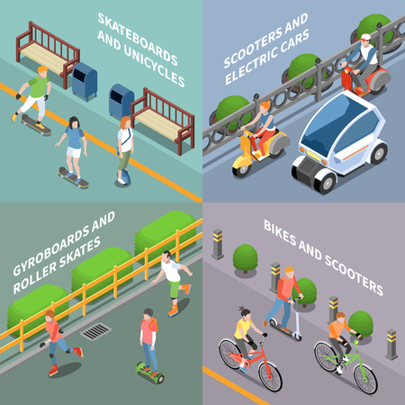 Illustration pour Eco transportation concept icons set with bike and scooter isometric isolated vector illustration - image libre de droit