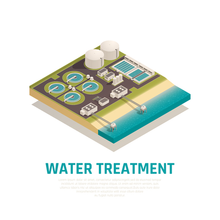 Illustration pour Advanced water treatment plant isometric composition with settling basins filtration separation oxidation wastewater purification facilities vector illustration - image libre de droit