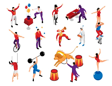 Circus performer profession isometric icons set with magician strongman clown pantomime acrobat lion tamer isolated vector illustration