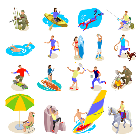 Illustration pour Outdoor activities icons set with sports and recreation symbols isometric isolated vector illustration - image libre de droit