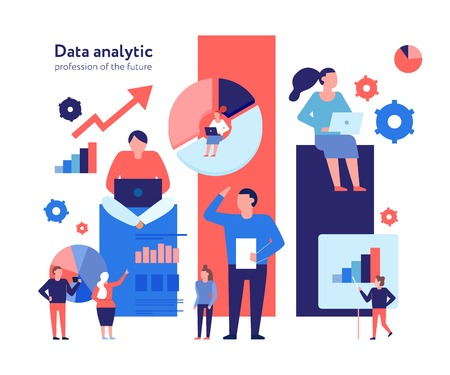 Ilustración de Advanced data analytics technologies flat composition with business models strategy statistic analysis growth opportunities prediction vector illustration - Imagen libre de derechos