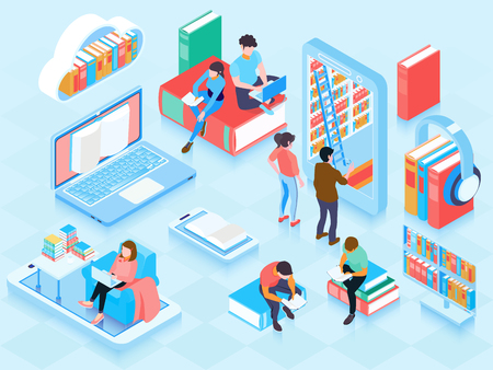 Illustration pour Online library isometric elements composition with people reading ebooks on laptop home cloud storage bookshelf vector illustration - image libre de droit