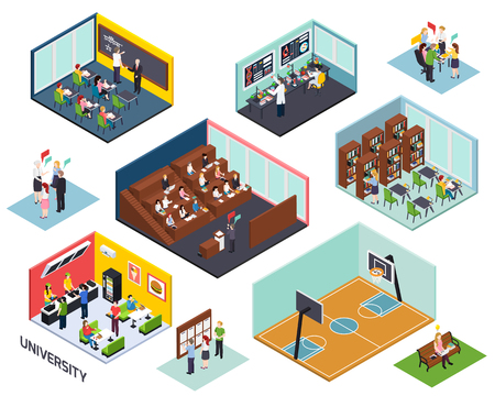 Illustration pour University study concept 10 isometric compositions set with classroom lecture library project sport outdoor isolated vector illustration - image libre de droit