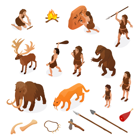 Illustration pour Primitive people life isometric set with hunting weapons starting fire rock painting dinosaur mammoth isolated vector illustration - image libre de droit