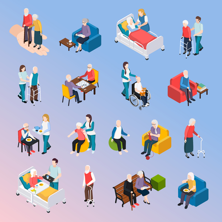 Illustration for Elderly people nursing home residents isometric icons set with medical care physical activities assistance leisure vector illustration - Royalty Free Image