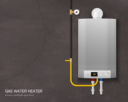 Colored and realistic gas water heater boiler composition with tools on the wall on gray background vector illustration