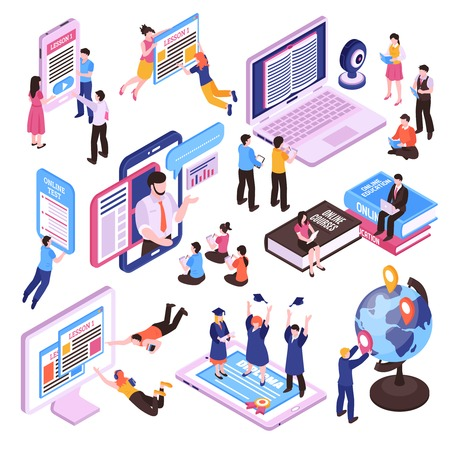 Illustration pour Online lessons isometric set of studying people using pc tablet and smartphone isolated vector illustration - image libre de droit