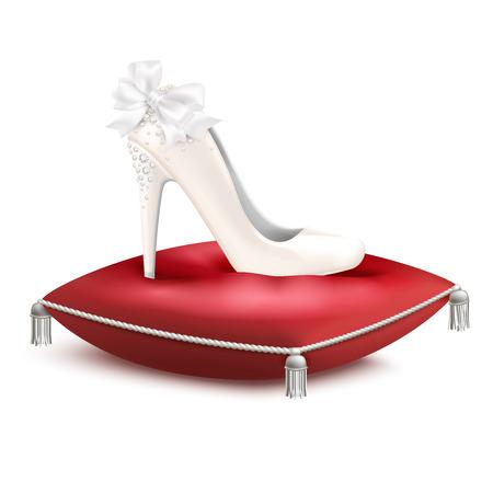 Illustration pour White decorated high heel wedding princess party bridal shoe on red satin pillow realistic composition vector illustration - image libre de droit