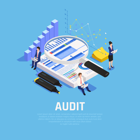 Illustration pour Accounting isometric composition with charts documentation and human characters during audit on blue background vector illustration - image libre de droit
