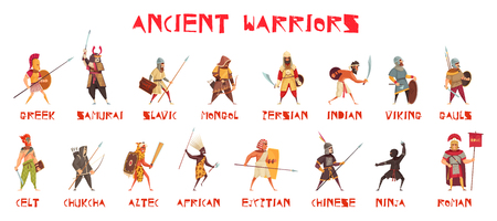 Illustration pour Ancient warriors set with national weapons flat isolated vector illustration - image libre de droit