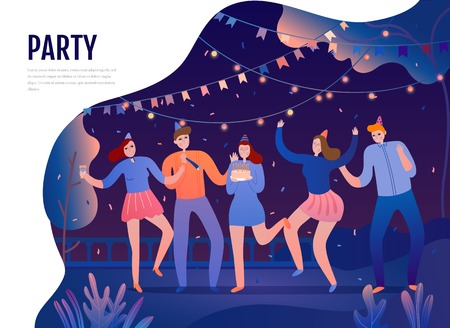 Illustration for Group of young persons with festive attributes during dances on birth day party flat vector illustration - Royalty Free Image