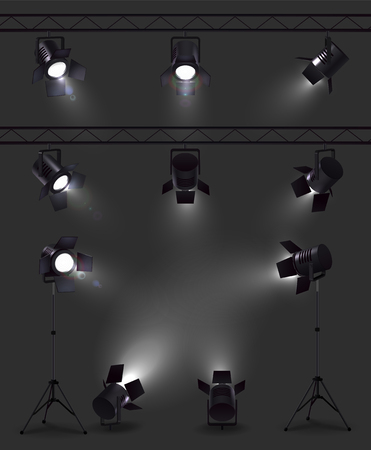 Illustration pour Spotlights set of realistic images with glowing spot lights from different angles with stands and reels vector illustration - image libre de droit