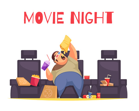 Illustration pour Movie night concept with gluttony and overeating symbols flat vector illustration - image libre de droit
