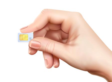 Illustration pour Realistic sim card hand composition with little plastic card in hands on white background vector illustration - image libre de droit