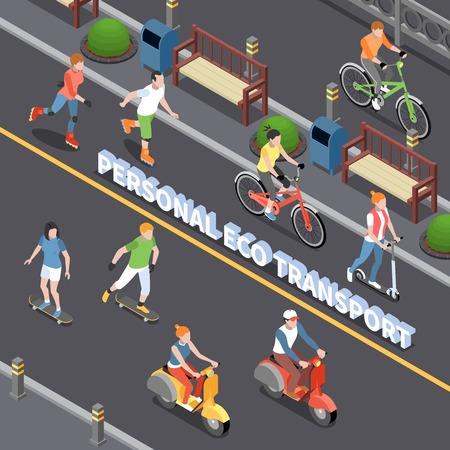 Illustration pour Personal eco transportation composition with personal mobility symbols isometric vector illustration - image libre de droit