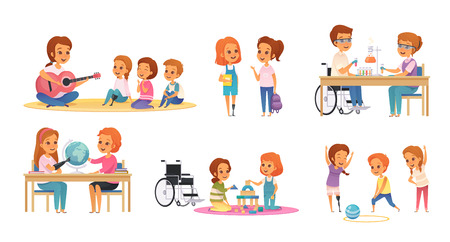 Illustration pour Colored and cartoon inclusion inclusive education icon set with disabled children learn and play vector illustration - image libre de droit