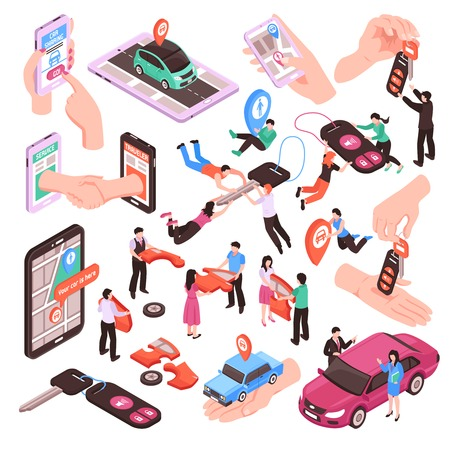 Illustration pour Isometric set of car sharing service elements and people using vehicles together isolated on white background 3d vector illustration - image libre de droit