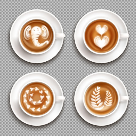 Realistic white cups with latte art images top view on transparent background isolated vector illustration