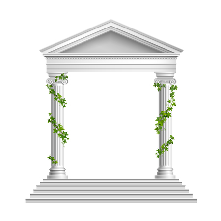 Ilustración de Realistic columns decorated green leaves with roof and base with stairs composition on white background vector illustration - Imagen libre de derechos