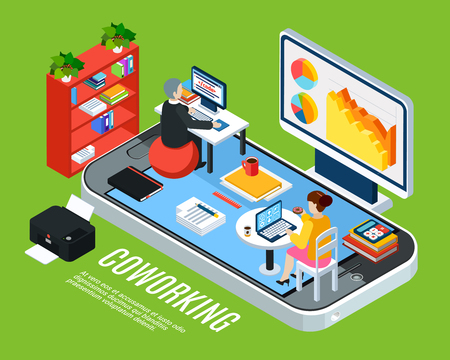 Illustration pour Business people isometric background concept with smartphone icon and coworking office with workspace furniture and clerks vector illustration - image libre de droit