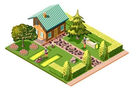 Ilustración de Landscaping isometric composition with residential house and maintenance of garden mowing lawn care about plants vector illustration - Imagen libre de derechos