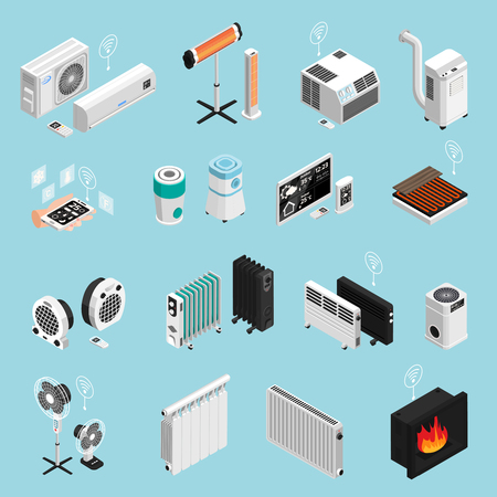 Ilustración de Smart home climate cooling heating elements isometric icons set with fireplace air condition radiator isolated vector illustration - Imagen libre de derechos
