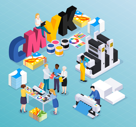 Illustration pour Advertising agency printing house isometric composition with customers designers workers producing colorful press ads material vector illustration - image libre de droit