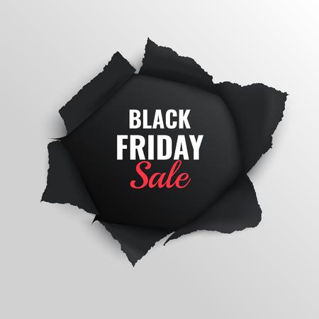 Ilustración de Black friday sale realistic composition on grey background with torn paper vector illustration - Imagen libre de derechos