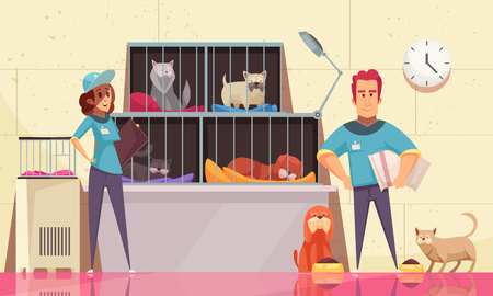 Photo pour Animal shelter horizontal illustration with pets sitting in cages and volunteers feeding animals flat vector illustration - image libre de droit