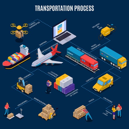 Ilustración de Isometric flowchart with different means of delivery transport and transportation process on blue background 3d vector illustration - Imagen libre de derechos