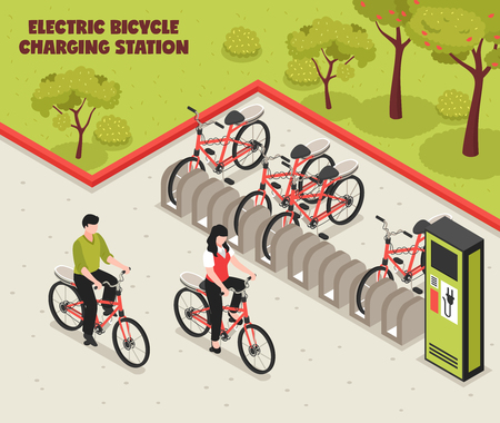 Ilustración de Eco transport isometric poster illustrated electric bicycle charging station with bikes standing on parking for vector illustration - Imagen libre de derechos