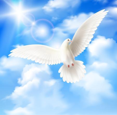 Ilustración de White pigeon background with sky sun and clouds realistic vector illustration - Imagen libre de derechos