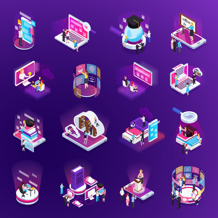Illustration pour E-learning online training education virtual library distant tutors glow isometric icons set purple background vector illustration - image libre de droit