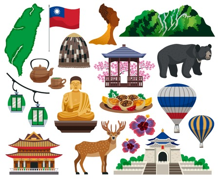 Illustration pour Taiwan travel cultural symbols traditions food sightseeing landmarks tourists attractions architecture flat elements set isolated vector illustration - image libre de droit