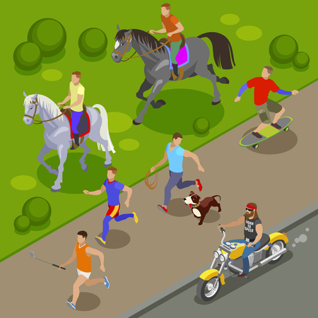 Illustration pour Outdoor activities background with skateboard and horse riding  symbols isometric vector illustration - image libre de droit