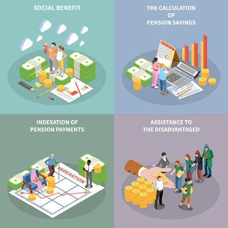 Ilustración de Social security unemployment benefits unconditional income isometric 2x2 design concept with banknote bundles people and text vector illustration - Imagen libre de derechos